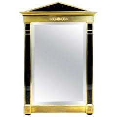 Mastercraft Modern Empire Style Brass and Black Lucite Mirror