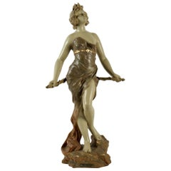 Sculpture, Terracotta, 1900, Statue Representing Diane Chasseresse
