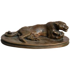 Bronze Sculpture of a Panther by French Sculptor Barye, 19th Century
