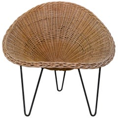 Wicker and Iron Lounge Chair, France, Midcentury, 1950s