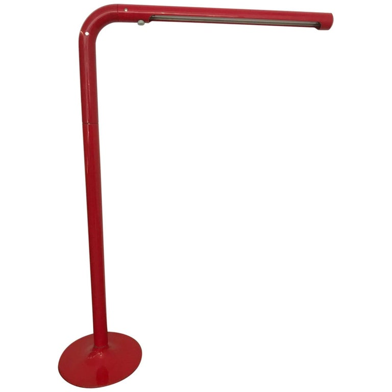 "Anders Pehrson ""Tuben"" Red Mid-Century Modern Floor Lamp, 1969 For Sale"
