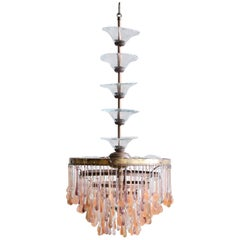 Reworked 1920s French Chandelier with Vintage and Contemporary Peach Glass Drops
