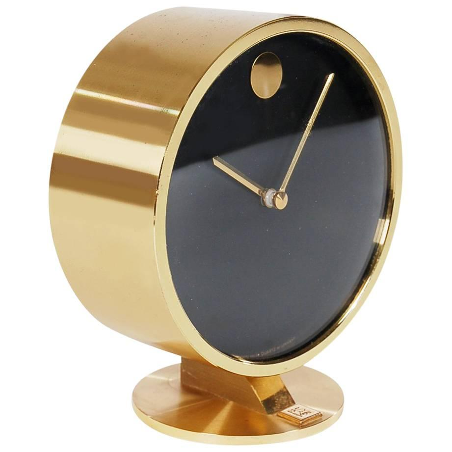 Mid Century Modern Brass Table Or Desk Clock By Howard Miller For Sale