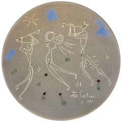 Jean Cocteau Terracotta Pottery Dish, Danseuse et Musicien, 1958