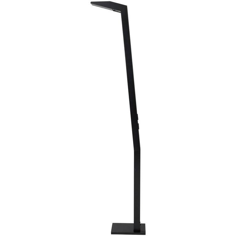 """Black Steel Floor Lamp Marked """"E"""" For Sale"""