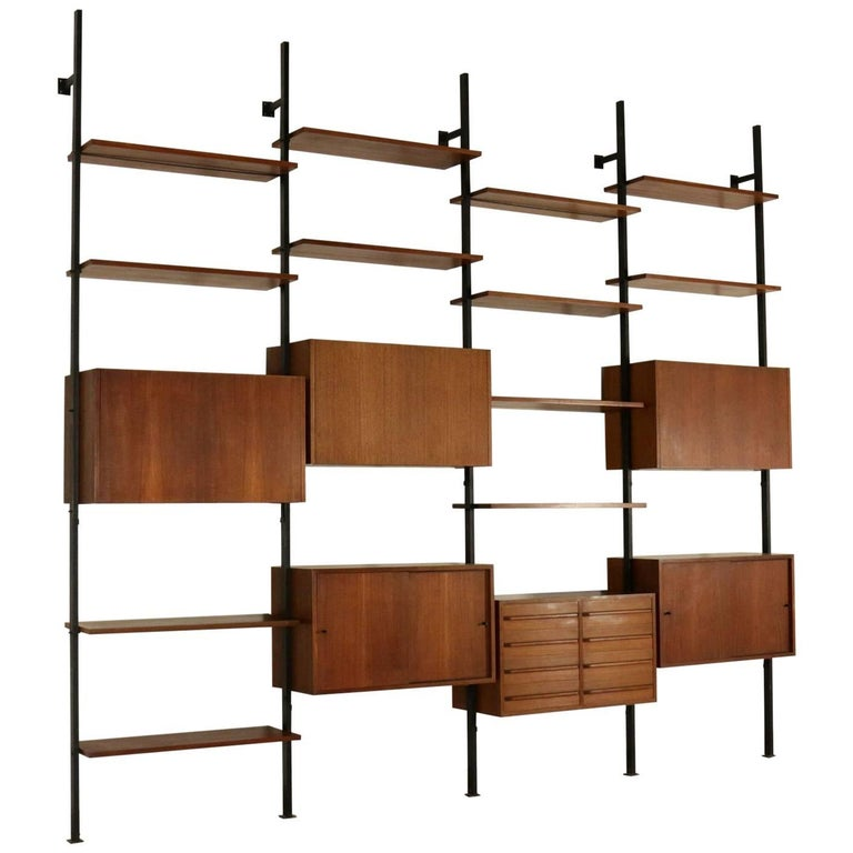 Bookcase Designed by Paolo Tilche Teak Veneer Vintage, Italy, 1950s-1960s