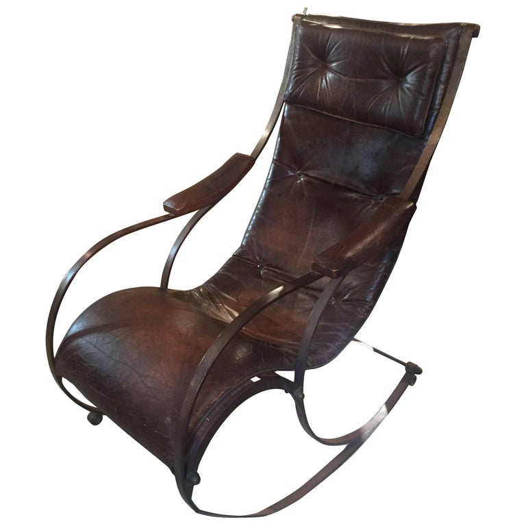 Midcentury Iron and Leather Rocking Chair