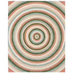 Angela Adams Infinity, Pink Rug, Geometric Circles, Wool, Handcrafted, Modern