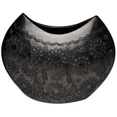 Dona Rosa Signed Black Pottery Vase Oaxaco, Mexico