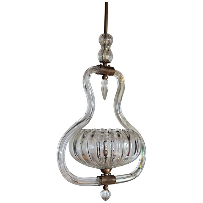 Art Deco Murano Cannister Rigadin Chandelier by Ercole Barovier, 1930s, Brass