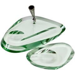 Fontana Arte 1950s Modernist Glass Pen Holder or Stand and Ashtray Desk Set