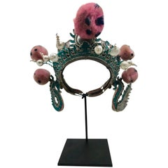 Vintage Silver and Turquoise Chinese Opera Theatre Headdress Pink/Blue Pom Poms