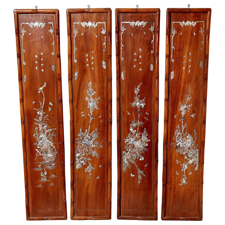 Mother Of Pearl Inlay Wooden Mini Folding Screen Asian: Pair Of Meiji Period Paint Decorated Wood Japanese
