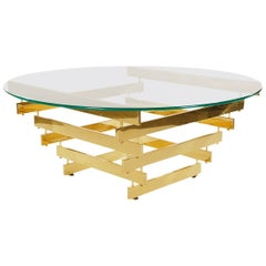 Hollywood Regency Brass and Glass Cocktail Table by Paul Mayen, Midcentury