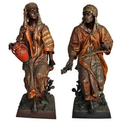 Superb Pair of Orientalist Spelter Sculptures by Anatole Guillot, 19th Century