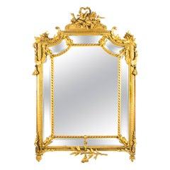19th Century Giltwood Louis Revival Overmantel Cushion Mirror