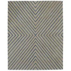 Angela Adams Vibes, Blue and Grey Rug, Geometric, Wool, Handcrafted, Modern
