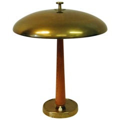 Brass and Teak Table Lamp from the 1940s, Sweden