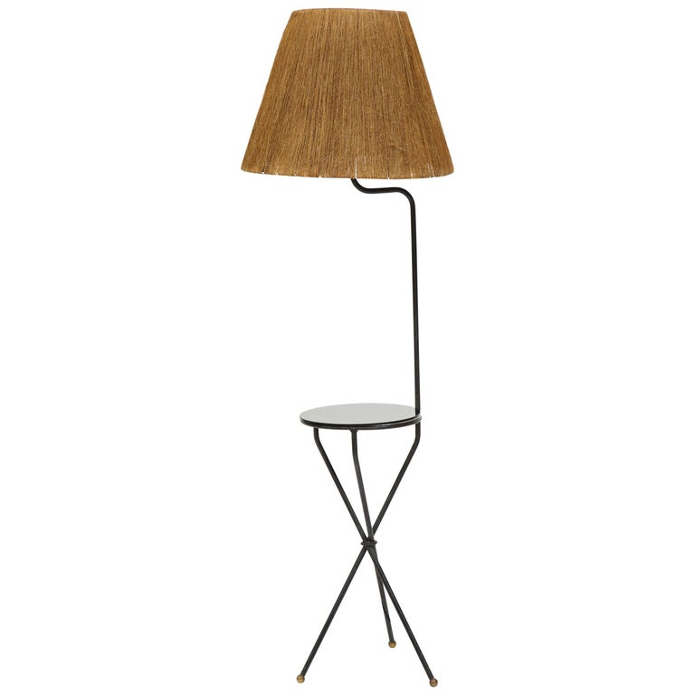 French Midcentury Tripod Iron Black Floor Lamp Horsehair Lampshade 1950 1960 For