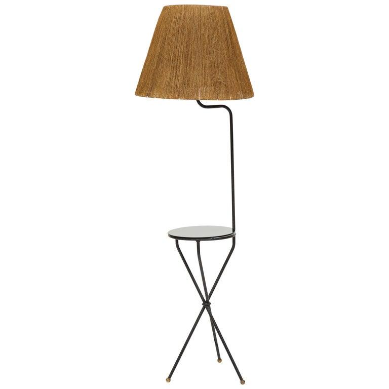 French Midcentury Tripod Iron Black Floor Lamp Horsehair Lampshade, 1950-1960