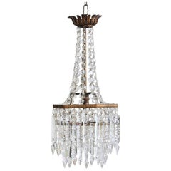 Early 20th Century English Crystal Chandelier with Prince Albert Crystal Lusters