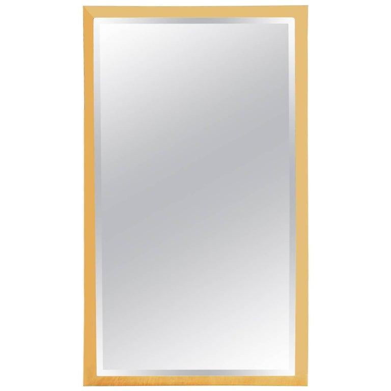 Midcentury Italian Modern Rectangular Brass Wall Mirror, Hollywood Regency For Sale