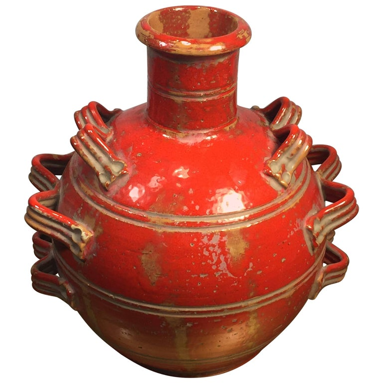 Italian Orange Triple Handled Terracotta Mid-Century Modern Vase