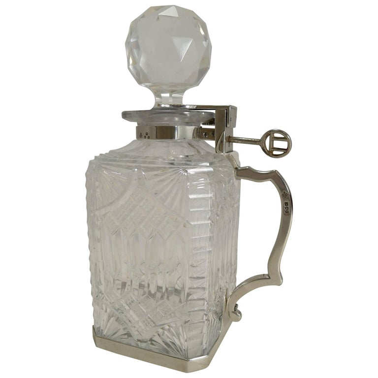 Antique English Cut Crystal and Sterling Silver Single Locking Decanter, 1898 For Sale