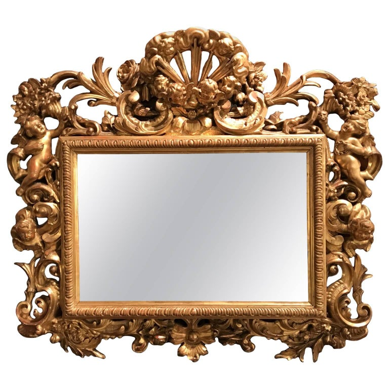Italian Giltwood Mirror Carved with Cherubs Rococo Style 19th Century
