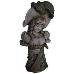 Art Nouveau Porcelain Girl Bust, Manner of Edward Stellmacher