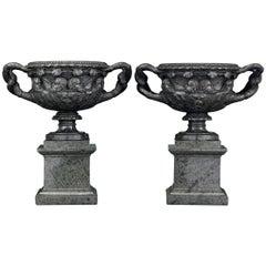 19th Century Italian Green Marble Warwick Vases