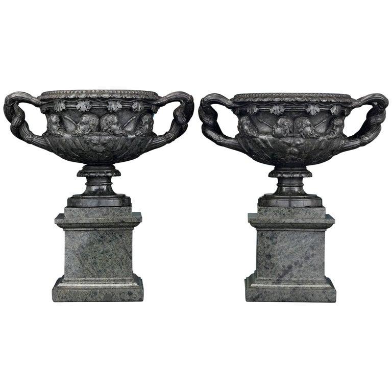 19th Century Italian Green Marble Warwick Vases For Sale