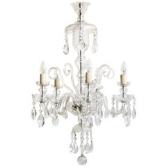 1930s French Large Bohemian Crystal Swan Neck Chandelier with Cut Crystal Drops