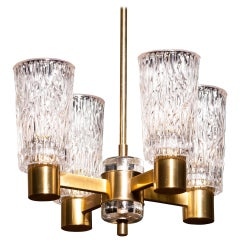 1950s, Brass and Crystal Glass Chandelier by Orrefors