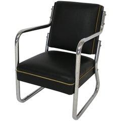1920s-1930s Art Deco Chrome and Leather Salesman Sample Chair