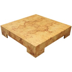 Modern Square Burl Walnut Coffee Table by Milo Baughman for Thayer Coggin