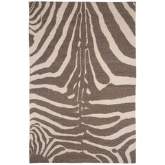 Zebra Design Brocade Weave Area Rug in Grey and White Wool