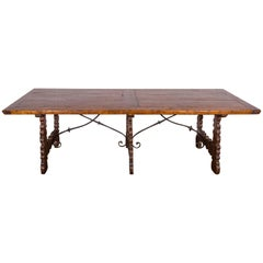 19c Double Iron Stretcher Wood Table from Chateau
