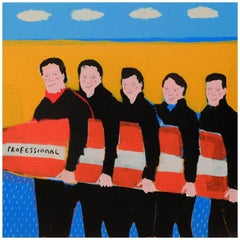 'Slippery When Wet' Portrait Painting by Alan Fears Surfing Beach