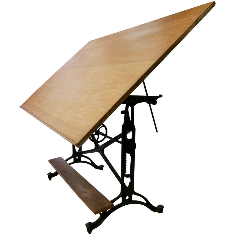 1940 Cast Iron Drafting Table with Extra Large Surface