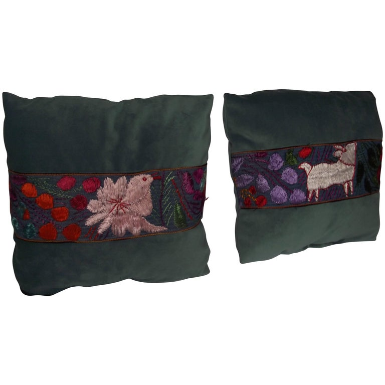 Throw Pillows With Trim From An Antique Peruvian Ceremonial Scarf At Magnificent Peruvian Decorative Pillows