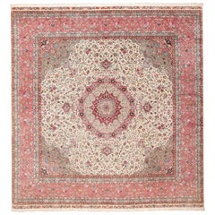 Square Floral Silk and Wool Vintage Tabriz Persian Rug