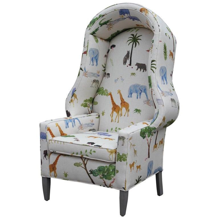 Modern Porter's Chair in the Style of Baker Furniture in Safari Animal Print