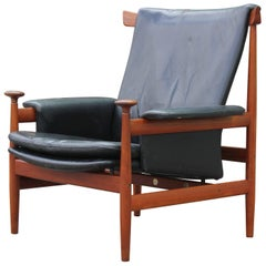 Modern Finn Juhl for France & Sons Bwana Lounge Chair in Black Leather and Teak