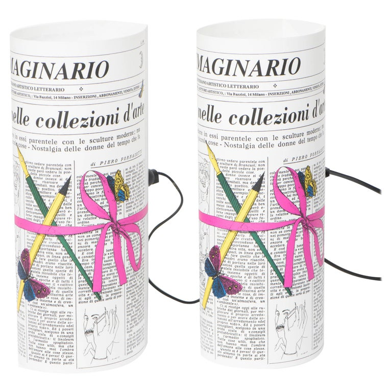 "Pair of Perspex Table Lamps ""Immaginario"" Barnaba Fornasetti, Italy, circa 1995"