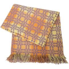 Vintage Saffron and Lavender Double Blanket, Wales, circa 1960
