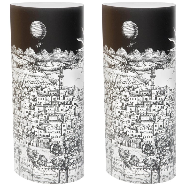 "Pair of Perspex Table Lamps ""Gerusalem"" by Barnaba Fornasetti, Italy, 1995 For Sale"
