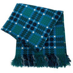Vintage Green and Blue Double Blanket from Trefriw Mill, Wales, circa 1970
