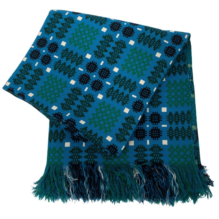 Welsh green-and-blue double blanket, 1970–79