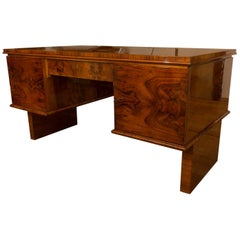 Functionalist Writing Desk in Walnut, 1930s, Bohemia